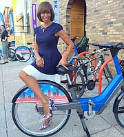 Baltimore Mayor Catherine Pugh at a Baltimore Bike Share station.