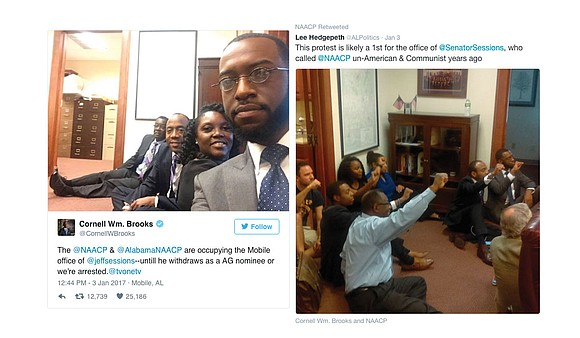 Several African-American civil rights activists staged a sit-in at the Alabama office of U.S. Sen. Jeff Sessions on Tuesday.