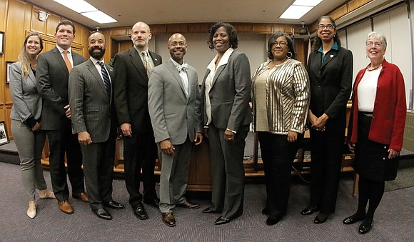 The nine members of the Richmond School Board were sworn in Tuesday, with newly installed Mayor Levar Stoney addressing the ...