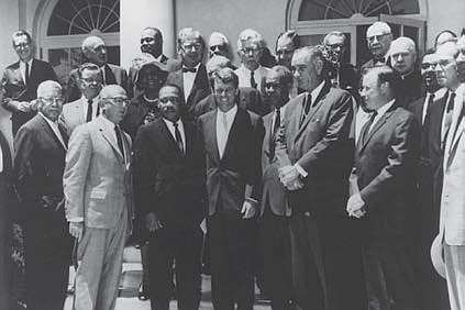 Lyndon B. Johnson and Robert F. Kennedy with Civil Rights leaders, June 22, 1963.