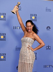 "Tracee Ellis Ross celebrates her award for Best Actress in a TV Comedy Series for ""Black-ish"""