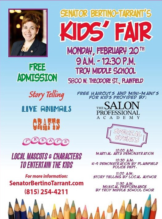 The kids' fair will be held on Feb. 20 at Troy Middle School in Plainfield.