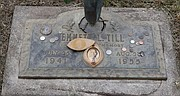This 2015 photo shows Emmett Till's grave marker in Alsip, Ill., on the 60th anniversary of his killing.