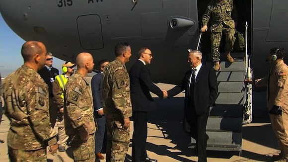 """Before departing for his first trip to Baghdad as US Defense Secretary, James Mattis told reporters, """"We're not in Iraq ..."""