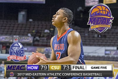 Four players scored in double figures Monday evening at No. 11 seed Howard upset No. 6 seed Coppin State 79-73