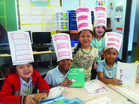"Farring Elementary School students make their own ""Cat In the Hat"" attire during National Reading Day with United Way of ..."
