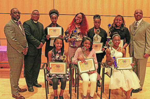 This year's Talent Hunt contestants with members of Pi Omega Chapter and the Pi Omega Foundation at the Reginald F. ...