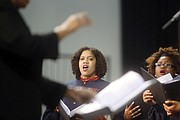 """Below, the Virginia State University Concert Choir and the university's Gospel Chorale perform during the president's investiture, including the black national anthem, """"Lift Every Voice and Sing,"""" and the VSU alma mater."""