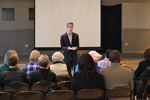 State Sen. Daniel Biss (D-Evanston) speaks to the group of participants at the Will County Day of Action Rally on April 1 at Mt. Carmel Church in Joliet.