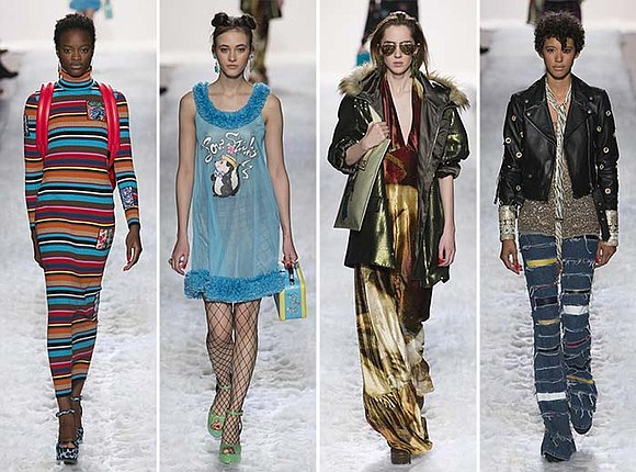 At Jeremy Scott's New York show, fashions on the runway were influenced by '70s styles. Psychedelic prints were modernized in ...