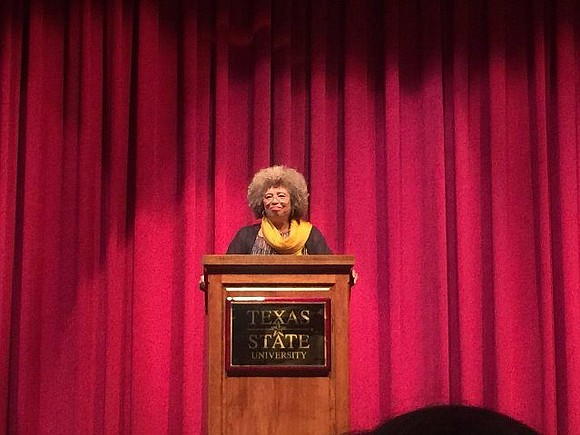Angela Davis, the 1960's radical, spoke to adoring students at Texas State University. She had a lot to say on ...