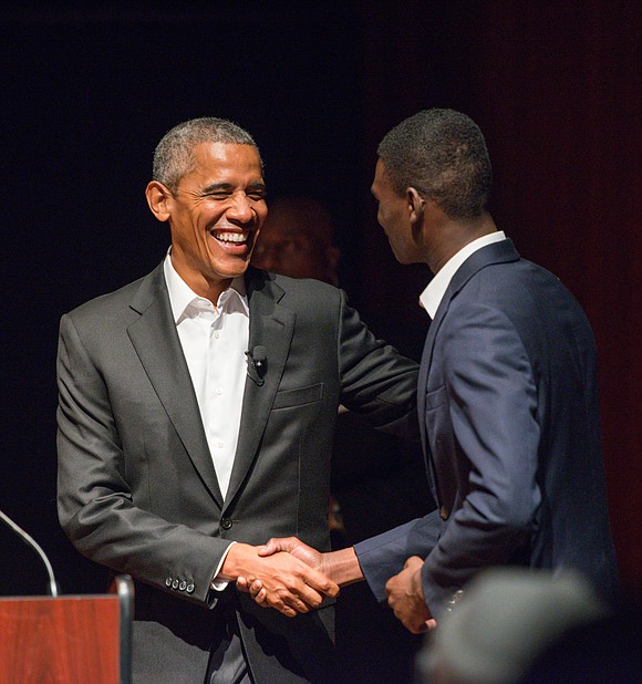 Looking rested and younger than ever—despite the increased gray hair—former President Barack Obama sat onstage in the middle of a ...