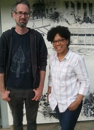 """Artists Andrew Keiper and Tiffany Jones whose work is part of the """"Everyday Utopias"""" art installation on display in Druid ..."""