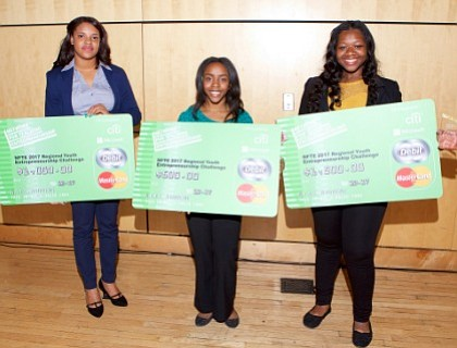 Saint Francis Academy and National Academy Foundation students Nailah Taylor and Crisaly De Los Santos won the first and second ...