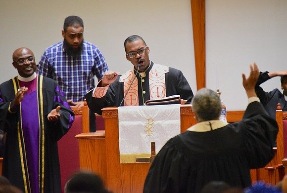The Rev. Herb Daughtry spoke at the dedication and grand opening of Williams Institutional Christian Methodist Episcopal Church in Harlem.