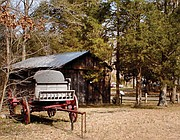 A wagon donated to the historical site in Goochland County sits outside the third and last Jackson Blacksmith Shop that was built in 1932. The original shop was constructed by Henry Jackson in 1880.