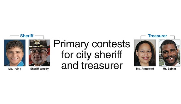 Races for Richmond sheriff and city treasurer essentially will be decided next Tuesday, June 13. With no Republican competition, the ...