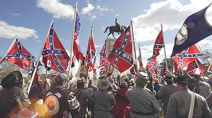 A 2012 rally at the Robert E. Lee statue on Richmond's Monument Avenue.