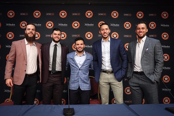 Major League Baseball announced tonight that second baseman Jose Altuve, shortstop Carlos Correa, outfielder George Springer, left-handed pitcher Dallas Keuchel ...