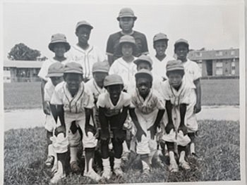 The James Mosher Giants, 1975. Reginald Exum (last row, second from left) and Thomas White III, coach