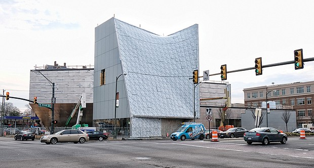 Work continues on Virginia Commonwealth University's Institute for Contemporary Art at Broad and Belvidere streets. Much has been completed since this view in early March.