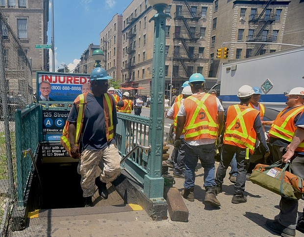 Scene of recent subway train derailment in Harlem