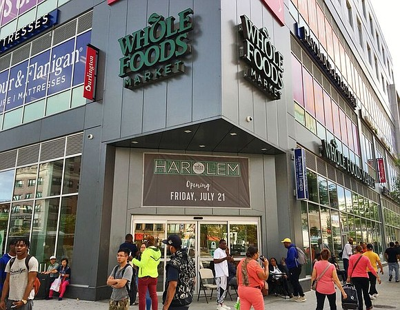 A new Whole Foods supermarket opened in Harlem.