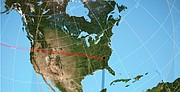 The red line shows the path of totality through the United States, while the yellow orbs show how much of the sun will be visible as the eclipse progresses.