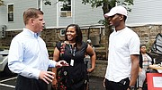 Mayor Martin Walsh and Freedom House Executive Director Katrina Shaw chat during the festivities.