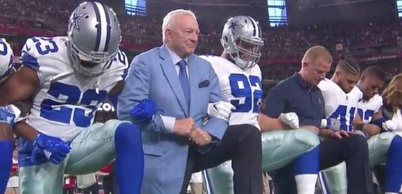 Dallas Cowboys owner Jerry Jones joined his team in taking a knee before the National Anthem, then the Cowboys and ...