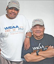 """Promoter, singer and band manager Milton Dugger with his dear friend Anthony """"Doc Doo-Wop"""" Ferrell, a former DJ and radio personality, who is in hospice care at the Loch Raven Genesis Center and is unable to talk at this time. Please keep him and his family in prayer."""