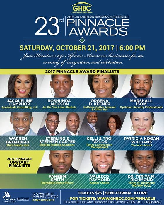 On Saturday, October 21, 2017 at 6:00 pm the Greater Houston Black Chamber (GHBC) will host the 23rd annual Pinnacle ...