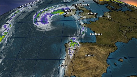 Former Hurricane Ophelia hit Ireland's west coast as a post-tropical storm on Monday, bringing with it strong winds, heavy rain, ...