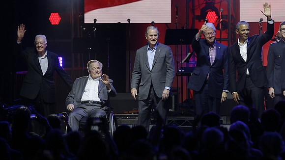 All five living former US Presidents took part in a benefit concert in Texas to raise money for hurricane relief ...