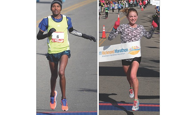Temesgen Habtemariam, 27, of Ethiopia, crosses the finish line second Saturday in the men's marathon with a time of 2:21.28. He was declared the winner on Wednesday after the first place finisher was disqualified. Right, Beth Sachtleben, 25, of Alexandria, a former George Mason University standout, is the women's marathon victor with a time of 2:39.