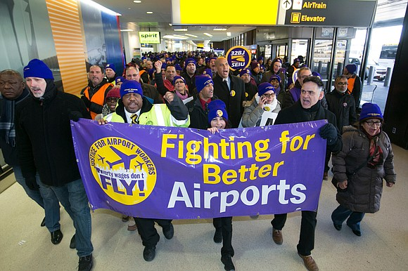 On Dr. Martin Luther King Jr. Day, 600 airport workers took to Newark Airport to call for good jobs and ...