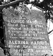 Headstone of George Harris, a former slave from the Winters Lane, an African American community in Catonsville, MD, who served in the Civil War.