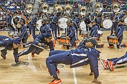 The VSU Trojan Explosion Marching Band takes over the floor during Sunday's halftime show.