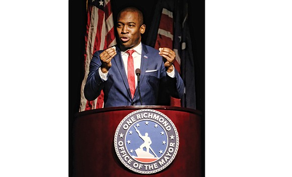 "Declaring that Richmond ""is strong,"" Mayor Levar M. Stoney called for ""bold and courageous"" action to deal with some of ..."