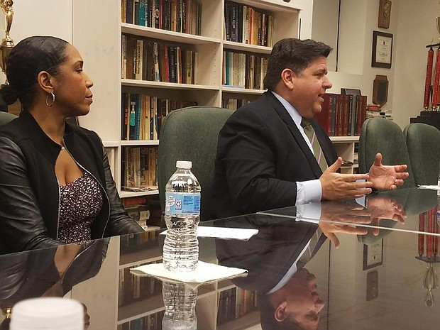 Democratic candidate for Governor J.B. Pritzker answers questions in Chicago after recordings surfaced that portray his attitudes toward African Americans in a less favorable light.