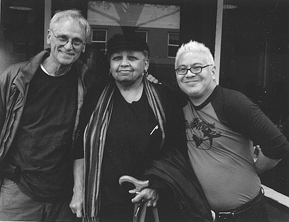 Portland civil rights leader Kathleen Saadat is pictured with U.S. Rep. Earl Blumenauer of Portland (left) and Thomas Lauderdale, the founder of Pink Martini.
