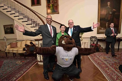 Governor Larry Hogan, First Lady Yumi Hogan, and Lt. Governor Boyd Rutherford welcomed the University of Maryland, Baltimore County (UMBC) ...
