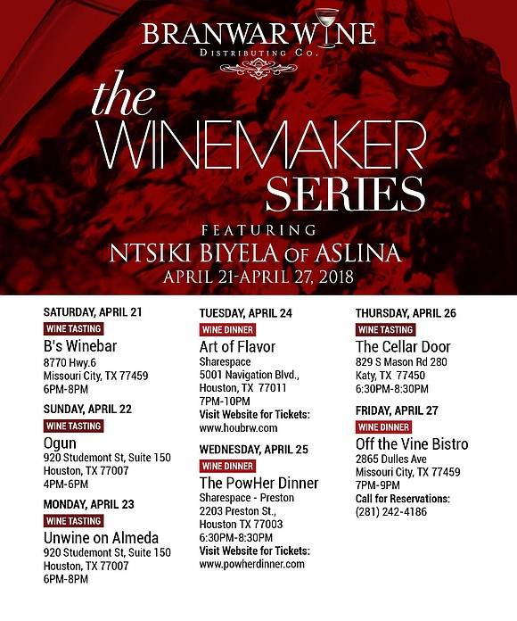 The South African Woman Winemaker of the Year, Ntsiki Biyela, owner of Aslina Wines, is coming to Houston with The ...