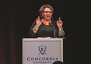 On behalf of the entire Concordia University and Faubion Elementary community, Kimberely Dixon, a Faubion parent and community leader, accepted the Concordia 2018 Gov. Victor Atiyeh Leadership in Education award.