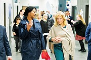 Dr. Jill Biden and Concordia University doctorate student Gwen Thompson tour the new Faubion Elementary School at Northeast 29th and Dekum.