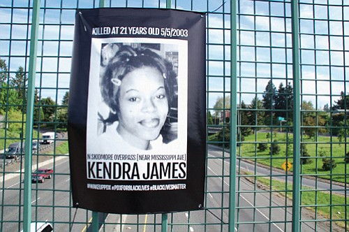 A memorial for Kendra James was put up on the Skidmore Street overpass above I-5 over the weekend in the ...