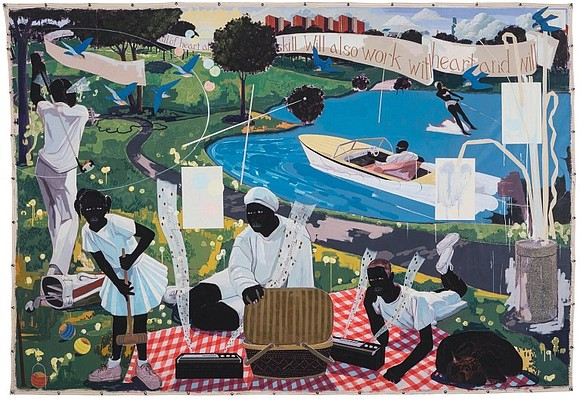 """Ever since the sale at Sotheby's on Wednesday night of """"Past Times,"""" a monumental painting by Kerry James Marshall with ..."""