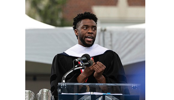 "Actor Chadwick Boseman, a Howard University alumnus who starred in the blockbuster film, ""Black Panther,"" lauded Howard University students for ..."