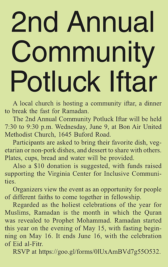 A local church is hosting a community iftar, a dinner to break the fast for Ramadan. The 2nd Annual Community ...