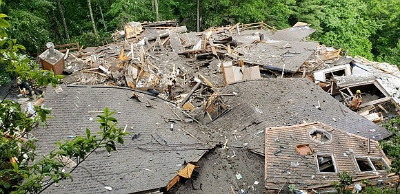 Two people died Wednesday after severe weather caused a landslide in western North Carolina.